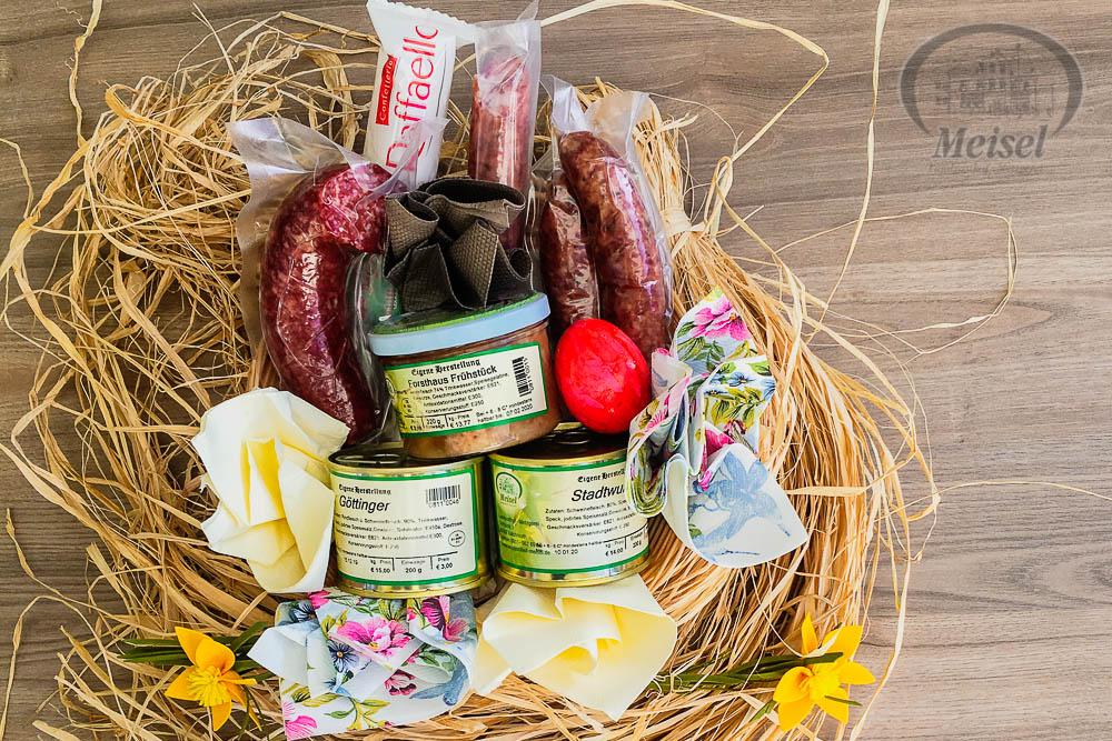 Wir bieten individuelle Ostergeschenke in unserer Metzgerei Meisel mit hausgemachten Wurstdosen und fränkischen Wurstwaren aus eigener Produktion. Landgasthof Meisel, Kalchreuth, Städtedreieck Nürnberg, Fürth, Erlangen. Franken, Bayern.